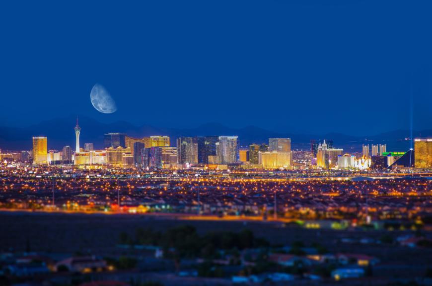 Las Vegas Nevada skyline at night.